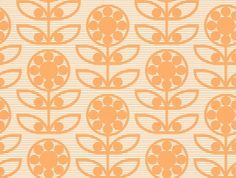 Dotty Flower  (LF1032) - Layla Faye Wallpapers - An all over wallpaper design featuring a stylised retro flower motif, with a fine striped background. Shown here in the tangy orange colourway. Other colourways are available. Please request a sample for a true colour match. Paste-the-wall product. Pattern repeat is 20cm, not as stated below.