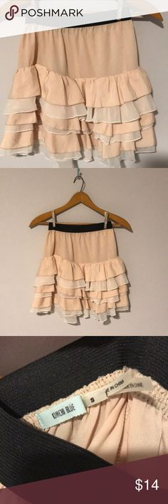 Urban Outfitters High Waisted Ruffle Skirt Party skirt with multi colored ruffles! Super cute just no longer have the legs to rock this mini skirt! Peach and White Ruffles. Barely worn and in wonderful condition! Urban Outfitters Skirts Mini