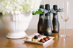 Personalize the champagne for your wedding morning with your bridesmaids' monograms! | Wedding Morning Tips with Freixenet