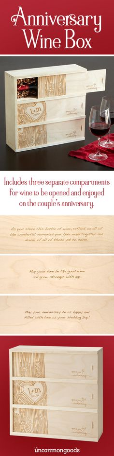 Great wines and great relationships improve with each passing year. And this customized anniversary wine box offers a personal way for one to toast the other!