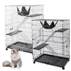 """51""""x35""""x22"""" Large Cat Pets Wire Cage 2 Door Playpen   Free Hammock Brand New Home Crate(White Vein)"""