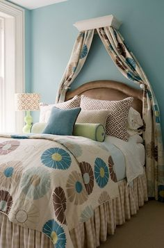 Suzie: Finnian's Moon Interiors - Gorgeous blue bedroom with blue walls paint color, molding ...