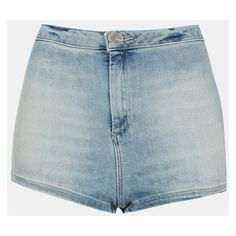 Topshop Moto 'Francis' Denim Hot Pants (624.315 VND) ❤ liked on Polyvore featuring shorts, bottoms, pants, short, light denim, high-waisted denim shorts, mini shorts, high-waisted shorts, micro denim shorts and vintage high waisted shorts