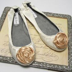 Ivory Ballet Slippers with Handmade Silk by KristieAnnCouture, $74.95