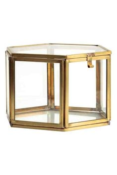 Caja hexagonal de vidrio