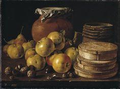 """""""Bodegón con manzanas, nueces, cajas de dulces y otros recipientes"""", Luis Egidio Meléndez, 1759"""