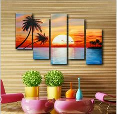 Day graphism Cute idea- diy modern paintings on canvas stacked side by side to create awesome beach scene with Sun and Palm trees Multiple Canvas Paintings, Multi Canvas Painting, Diy Painting, Beach Canvas, Diy Canvas, Beach Art, Sunset Beach, All Nature, Arte Pop