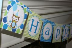 Birthday Boy Owl Happy 1st Birthday Banner by PartyPaperPrintables, $7.00