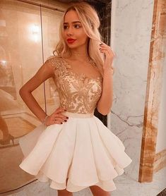White lace short prom dress, white homecoming dress,party dresses from HotProm Robe de soirée courte Hoco Dresses, Sexy Dresses, Cute Dresses, Fashion Dresses, Formal Dresses, Party Dresses, Dress Party, Pageant Dresses, 1950s Dresses
