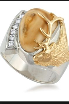 Love this elk ivory ring. Maybe just the gold antler on the side to make it more simple.