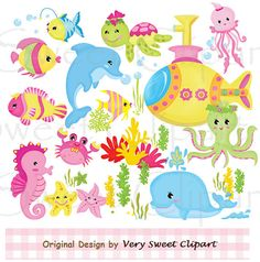 Pink sea animals digital illustration clipart by VerySweetClipart, $2.99