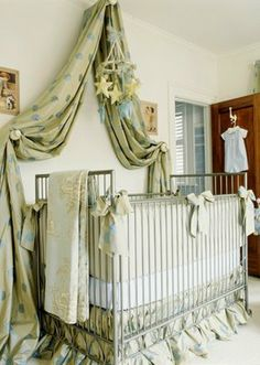 Canopy above the crib (different fabric)