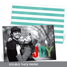 """This card fills us with """"Joy!"""" It's printed on double thick paper and features your best photo filling the front! #PremiumCards #holiday #ChristmasCards"""
