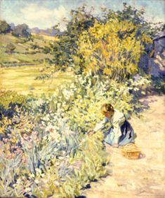 Helen McNicoll, Gathering Flowers, c. 1911, oil on canvas, 76.2 x 63.5 cm, private collection, Toronto. #ArtCanInstitute #CanadianArt