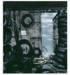 Norbert Schwontkowski Title: Pneu - Year: 2008 Material: Öl auf Leinwand - 200,2 x 180,1 x 2,6 cm