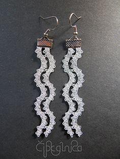 Wave Silver Wavy Lace Earrings Handmade Bobbin Lace por A5lace