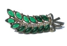 Vintage Rhinestone Brooch in Green Leaf Design on by RibbonsEdge, $39.99