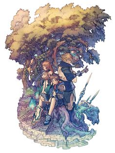 Main Characters Illustration from Final Fantasy Dimensions II