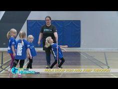 Hula Hoop run and jump through  Have the kids try various locomotor skills while balancing!