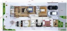 Planta de casa térrea com escritório. Small Places, Small House Design, Home Design, Architecture Plan, House Plans, New Homes, Floor Plans, Exterior, Layout