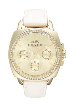 Coach 'Boyfriend' Crystal Bezel Leather Strap Watch, 40mm