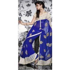 Royal Blue color Chiffon saree