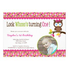 Mod Owl 1st Birthday Invitation - First Party