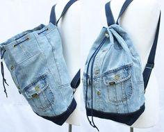 denim backpack repurposed jean jacket big bucket drawstring bag vintage 80s 90s grunge backpack hipster upcycled recycled laptop sleeve