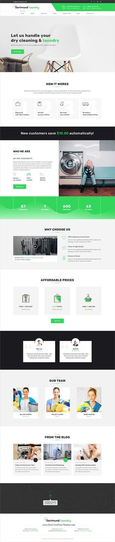 Dortmund is clean and modern design #PSD template for #laundry services website with 2 homepage layouts and 11 layered PSD pages to live preview & download click on Visit