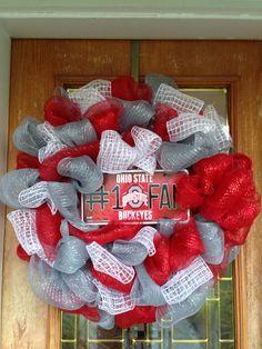 Ohio State Deco Mesh Wreath - Go Buckeyes!!