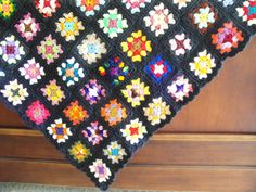 Crochet Afghan Granny Squares Black and Multi Colored Large