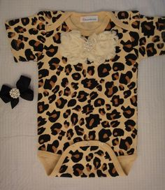 Cheetah leopard print baby girl onesie body by Blossomgirlboutique, $19.95