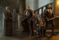 ArtStation - Lannister Heroes, Stefan Kopinski band of mercenaries Fantasy Rpg, Medieval Fantasy, Fantasy Artwork, Game Of Thrones Artwork, Game Of Thrones Fans, Skyrim Armor, Savage Worlds, Fire Art, Fantasy