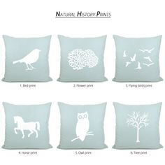 Bird pillow cover  White bird print on by ClassicByNature on Etsy, $34.00