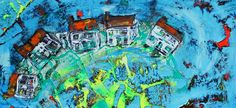 PAUL WESTAWAY, Fishing Village, Distressed abstract experiment, ACRYLIC Painting ON IRREGULAR BOARD Size B via Paul Westaway Outsider Artist. Click on the image to see more!