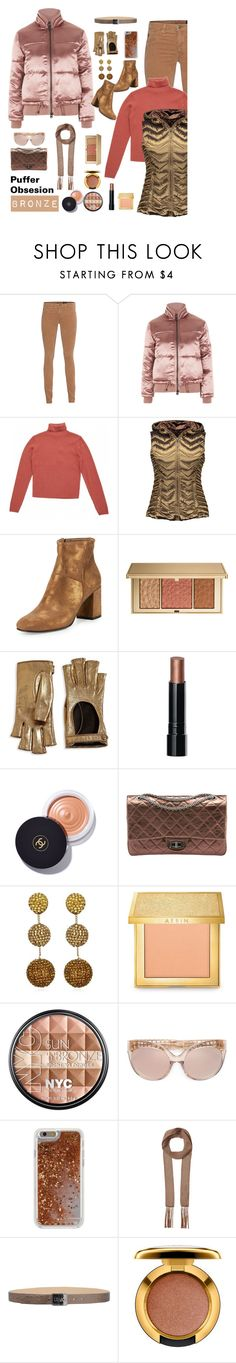 """""""Bronze Puffer Obsession"""" by traceygraves ❤ liked on Polyvore featuring AG Adriano Goldschmied, Topshop, Blanc Noir, Coclico, Estée Lauder, Gucci, Bobbi Brown Cosmetics, Chanel, Suzanna Dai and Linda Farrow"""
