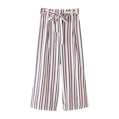 SheIn(sheinside) Multicolor Vertical Stripe Pockets Tie-waist Bow Wide... ($24) ❤ liked on Polyvore featuring pants, multi, white elastic waist pants, wide-leg pants, white pants, cropped trousers and cropped pants
