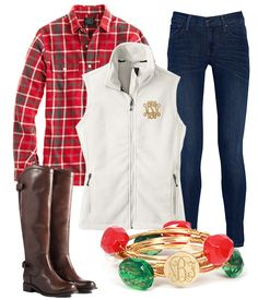 Plaid, Monograms and Riding Boots - LOVING this look for Fall! #OOTD