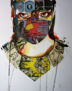 Sandra Chevrier - Collaged layers of comic book pages serve as the main creative medium for these portraits by illustrator Sandra Chevrier. The Montreal based artist. Collage Portrait, Portraits, Sandro, Sandra Chevrier, Nature Artists, Collage Art Mixed Media, Cultura Pop, Art Blog, Pixel Art