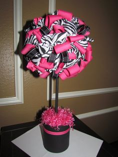 Zebra Print, Pink and Black Ribbon Topiary