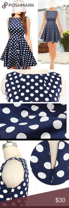 Vintage  Flare Pleated Dress Polyester Material  Above Knee Lenght  Polka Dot Pattern  Navy Blue  Good for wedding guest and even casual party  Vintage  measurement posted. The dress i have on hand is size small Asian  ❤️ 1 Finejo Dresses