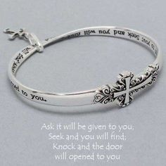 "Women's Inspirational Silver Cross Bracelet. Size : 1 1/4"" High, 2 3/4"" Diameter. ""Ask It Will Be Given to You, Seek and You Will Find, Knock and the Door Will Opened to You."""