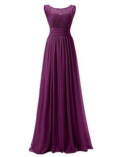 Dresstells Long Prom Dress Scoop Bridesmaid Dress Lace Chiffon Evening Gown Coral Size 2