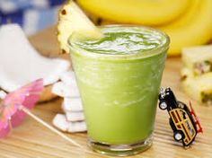 Greena Colada Add the contents of one 14-ounce can of unsweetened crushed pineapple, one-quarter cup of coconut milk, one cup of baby spinach and a scoop of protein powder to a blender and blend.