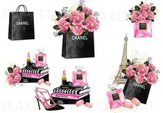 Paris Clipart, Chanel Poster, Fashion Clipart, Gossip Girl Fashion, Fashion Wallpaper, Black And White Aesthetic, Fashion Wall Art, Tag Art, Fashion Sketches