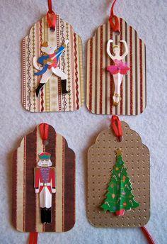 Nutcracker Hang Tags-For Nutcracker Ballet Parties, Gift Bags, Presents, Ornaments. Set of 4.