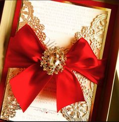 Beautiful red and gold wedding invitation