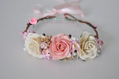 Pink Cream Flower Crown Pink Ivory cream by SweetLittleMelody