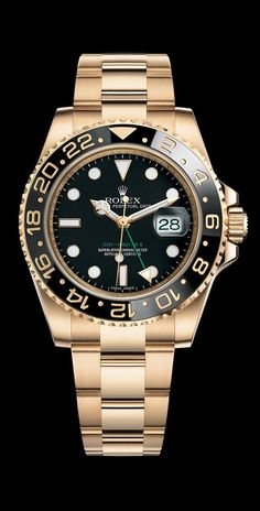 Rolex GMT-Master II in 18ct in yellow gold with a rotatable 24-hour Cerachrom bezel in black ceramic, a black dial and an Oyster bracelet.