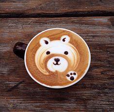 bear, paw coffee art